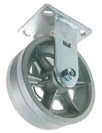 Rigid Caster with V-Groove Cast Iron wheel.