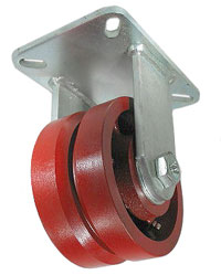 "Caster; Rigid; 6"" x 3""; V-Groove (7/8) Ductile Steel; Plate (4-1/2""x6-1/4""; holes: 2-7/16""x4-15/16"" slotted to 3-3/8""x5-1/4""; 1/2"" bolt); Tpred Rlr Brng; 6000# (65653)"