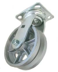 Caster; Swivel; 5 x 2; V-Groove Cast Iron; Top Plate; 4x4-1/2; hole spacing: 2-5/8x3-5/8 (slotted to 3x3); 3/8 bolt; Zinc; Roller Brng; 900# (68856)
