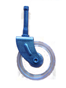 Swivel caster with a clear plastic wheel and grip neck stem.