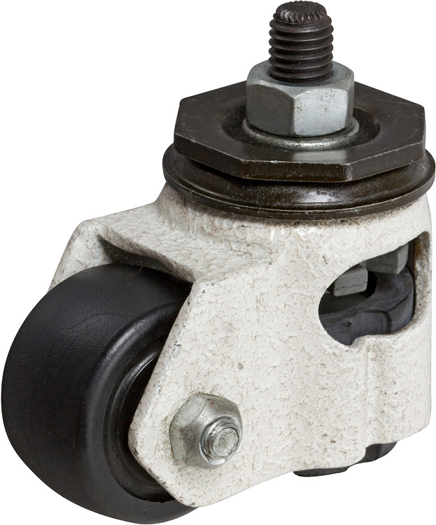 "Caster; Swivel; 1-3/4"" x 1-1/16""; Nylon; Hollow Kingpin (tapped 12mm; 5/8"" deep); Ivory; 220# (Wheel) 550# (Pad); Leveling Pad (Open Sides).  Comes w/ 35mm Stem (65294)"