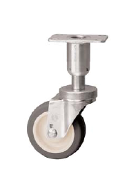 Caster; Swivel; 3x1-1/4; PolyU on PolyO (Gr/Bg); Plate (2-3/8x3-5/8; holes: 1-3/4x2-7/8 slotted to 3; 5/16 bolt); 250#; Leveling Leg (2in long; 5/8 adjust) (66958)