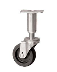 Caster; Swivel; 3x1-1/4; Polyolefin; Plate (2-3/8x3-5/8; holes: 1-3/4x2-7/8 slotted to 3; 5/16 bolt); Plain bore; 300#; Leveling Leg (3-5/8 leg; 1-1/2 adjust) (66975)