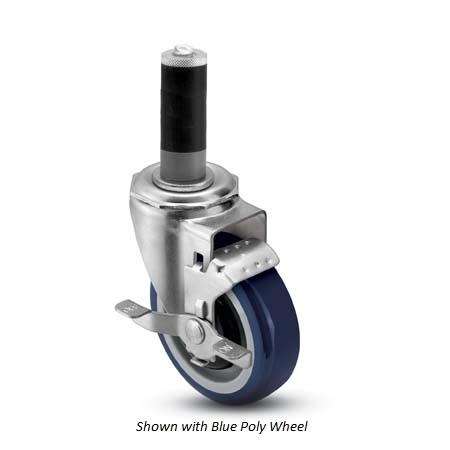 "Caster; Swiv; 3"" x 1-1/4""; PolyU on PolyO (Blue); Expandable Adapter (1-3/8"" - 1-1/2"" ID tubing) Zinc; Ball Brng; Wgt Cap: 250#; Top Lock; Wheel (69961)"