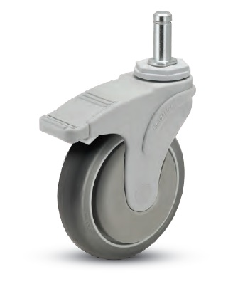Swivel Caster with a gray Rubber wheel, Gray Nylon Yoke, Grip Ring connector and total lock pedal br