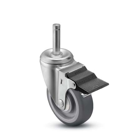 Swivel Caster with a soft, Thermoplastic Rubber wheel, Zinc finish, Grip Ring connector and pedal wh