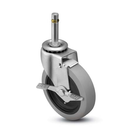 Swivel Caster with a gray Rubber wheel, Zinc finish,  Grip Ring connector and a Brake.