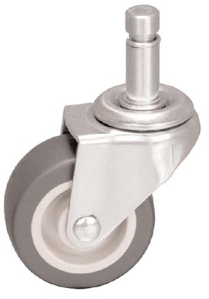 Swivel Caster with a gray Thermoplastic Rubber wheel, Zinc finish, and Grip Ring connector.