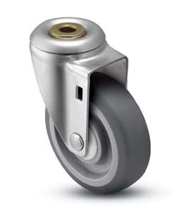 Caster; Swivel; 3-1/2 x 1-1/4; Thermoplastized Rubber (Gray); Hollow Kingpin; 1/2 bolt; Zinc; Ball Brng; 250# (68803)