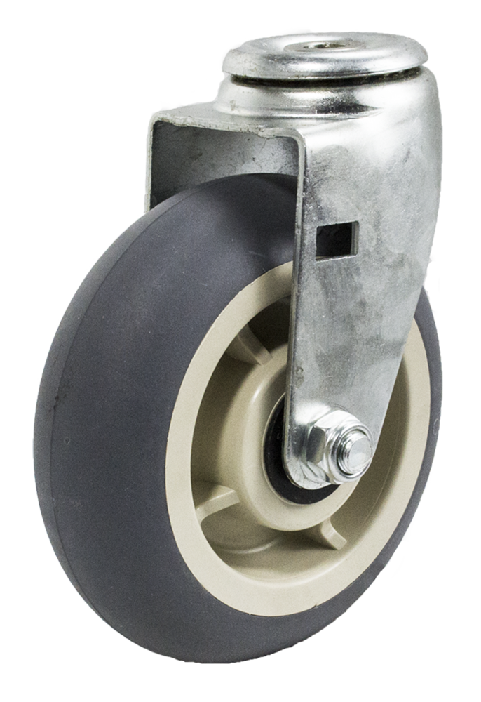 "Caster; Swivel; 5"" x 2""; ThermoPlastic Rubber Donut (Gray); Hollow Kingpin (1/2"" bolt hole); Zinc; Roller Brng; 450# (64274)"