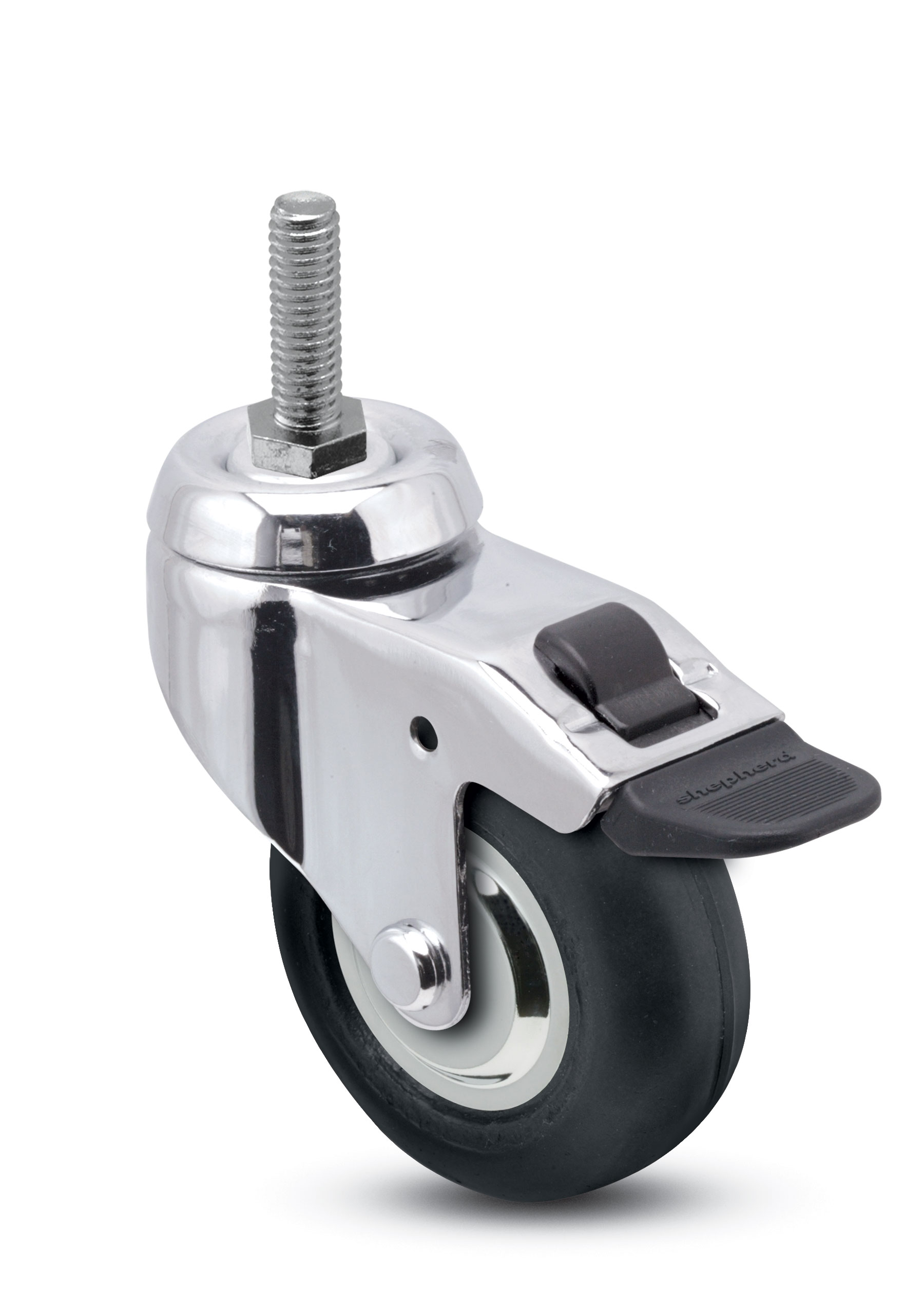 "3"" x 15/16"" Swivel Caster with a Monoprene (Donut) wheel, Threaded Stem connector, and Precision Ball Brng (#67135)"