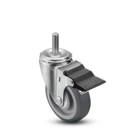 "Caster; Swivel; 2"" x 13/16""; Thermoplastized Rubber (Gray); Threaded Stem (3/8""-16TPI x 1-1/4""); Zinc; Plain bore; 80#; Pedal Brake (64713)"