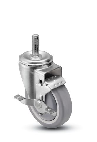"Caster; Swivel; 4"" x 1-1/4""; Thermoplastized Rubber (Gray); Threaded Stem (1/2""-13TPI x 1-1/2""); Ball Bearing (Single); 250#; Thread guards; Brake; Dust Cover (65812)"