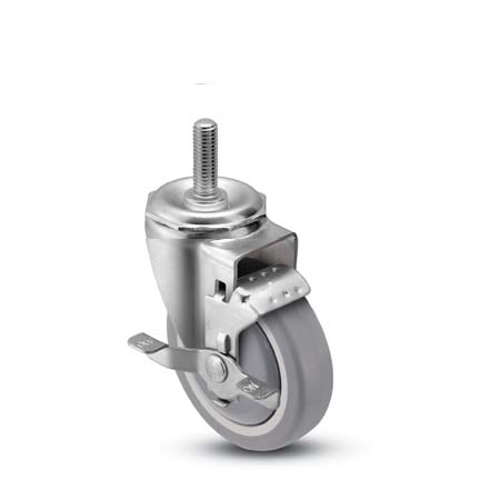 Swivel Caster with a gray, Thermoplastic Rubber wheel, Zinc finish, Threaded Stem connector and a Br