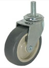 Swivel Caster with a gray Rubber wheel, Zinc finish, and Threaded Stem connector.