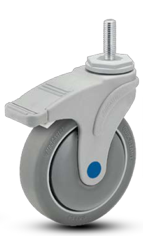 Swivel Caster with a soft, gray, Thermoplastic Rubber wheel, Nylon yoke, Threaded Stem connector and