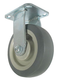 Rigid Caster with a Thermoplastized Rubber (Gray) wheel, Zinc finish, and Top Plate connector.