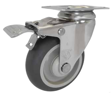 "Caster; Swivel; 4"" x 1-1/4""; TPR Rubber (Gray); Plate (2-3/8""x3-5/8""; holes: 1-3/4""x2-7/8"" slotted to 3""); Stainless body & bearing; 250#; Ttl Lock Brake (65439)"