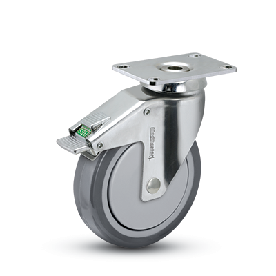 Swivel Caster with a Thermoplastic Rubber wheel, Stainless finish, Plate connector and Total Lock Br