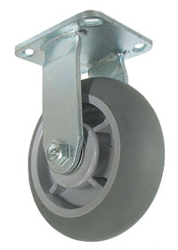 Rigid Caster with a Gray, donut style ThermoPlastic Rubber wheel.