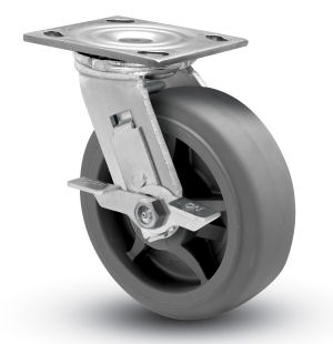 Swivel Caster with a gray Thermoplastic Rubber wheel, Zinc finish, Plate connector and Brake.