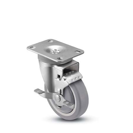 Swivel Caster with a Gray wheel, Zinc finish, Top Plate connector and a Brake.
