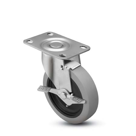 "Caster; Swivel; 5"" x 1-1/4""; Thermoplastized Rubber (Gray); Plate (2-1/2""x3-5/8""; holes: 1-3/4""x2-7/8"" slotted to 3""; 5/16"" bolt); Zinc; Plain bore; 250#; Brake (64344)"