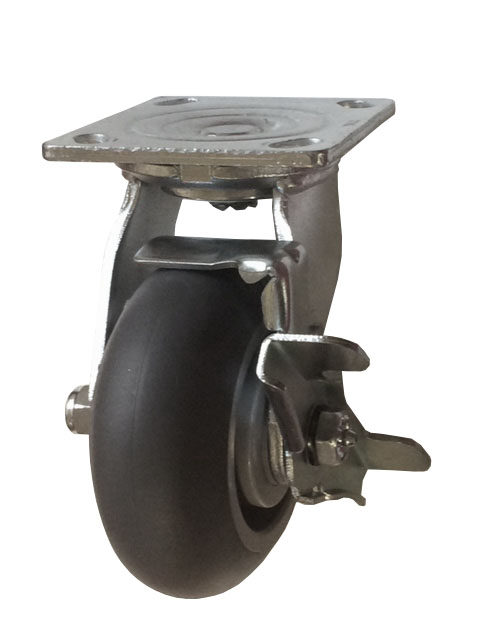 Swivel Caster with a donut Thermoplastic Rubber wheel, Zinc finish, Plate connector and a Brake.