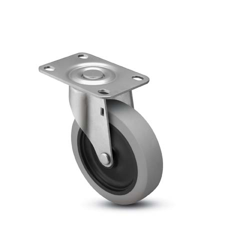 Caster; Swivel; 5x1-1/4; Thermoplastized Rubber (Gray); Top Plate (2-1/2x3-5/8; hole spacing: 1-3/4x2-7/8 slotted to 3; 5/16 bolt); Zinc; Annular Brng; 250# (67242)