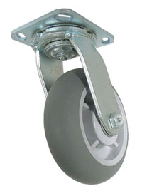 Caster; Swivel; 4 x 2; ThermoPlstc Rbr; Round; Top Plate; 5x5-1/2; hole spacing: 4-1/8x4-1/2; 7/16 bolt; Zinc; Roller Brng; 300#; Zerk Axle (69149)