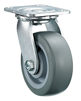 Swivel Caster with a Thermoplastized Rubber (Gray) wheel, Zinc finish, and Top Plate connector.