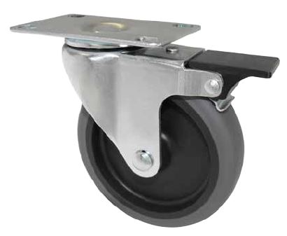 Swivel Caster with a Thermoplastic Rubber wheel, Zinc finish, Plate connector and pedal brake.