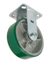 "Caster; Rigid; 6"" x 2-1/2""; PolyU on Cast Iron; Plate (4-1/2""x6-1/4""; holes: 2-7/16""x4-15/16"" slotted to 3-3/8""x5-1/4""; 1/2"" bolt); Zinc; Roller Bearig; 2200# (65720)"