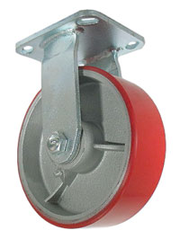 Rigid Caster with a red PolyU on Cast Iron wheel.