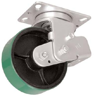 Spring Loaded, shock absorbing, Swivel Caster with a green PolyU on Cast wheel, Zinc finish, and Pla