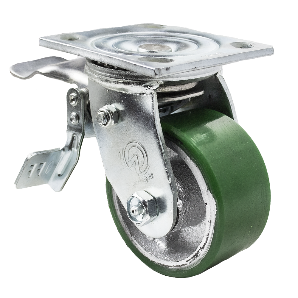 "Caster; Swivel; 6"" x 2""; PolyU on Cast Iron; Plate (4""x4-1/2""; holes: 2-5/8""x3-5/8"" slotted to 3""x3""; 3/8"" bolt); Roller Brng; 1200#; Total Lock (Leading) (66032)"