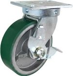 "Caster; Swivel; 8"" x 2-1/2""; PolyU on Cast Iron; Plate (5-1/4""x7-1/4""; holes: 3-3/8""x5-1/4"" to 4-1/8""x6-1/8""; 1/2"" bolt); Rlr Brng; 2500#; Wheel Brake (64993)"