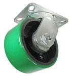 Swivel Caster with a green Polyurethane on Steel wheel, Zinc finish, Plate connector and kingpinless