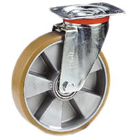 Swivel Caster with a orange, Polyurethane wheel, Zinc finish, and Top Plate connector.