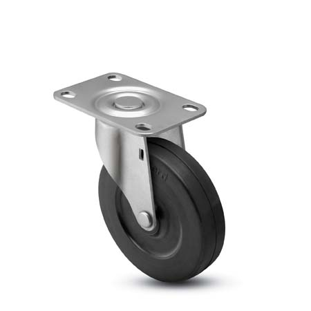 Swivel Caster with black wheel and Plate.