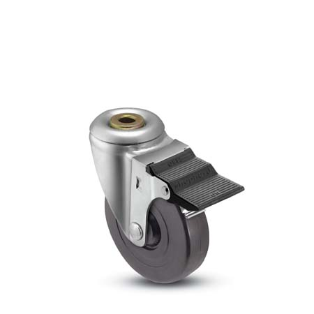 Swivel caster with a black wheel, hollow kingpin and pedal brake