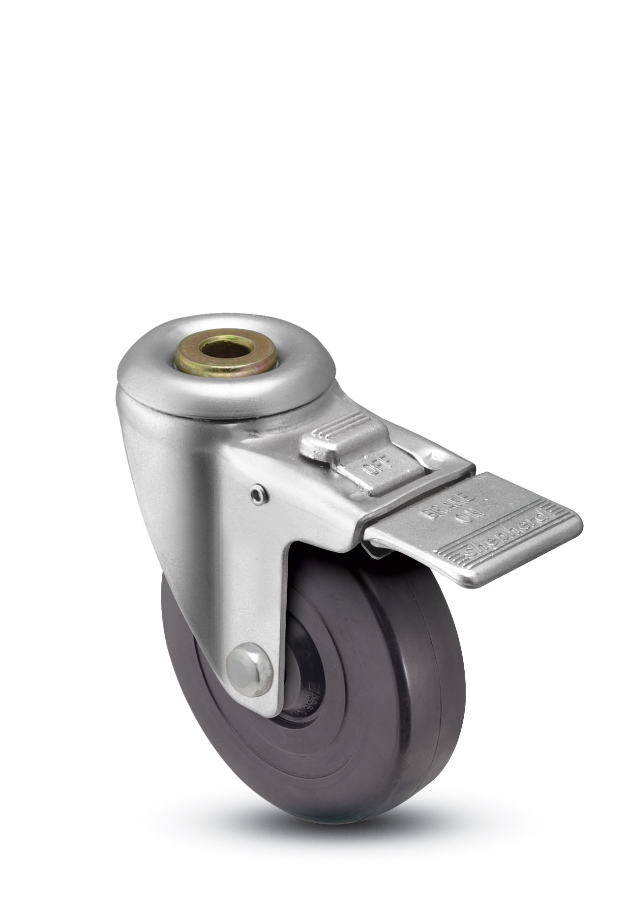 Swivel caster with a black wheel, hollow kingpin connector and a pedal style total lock brake.