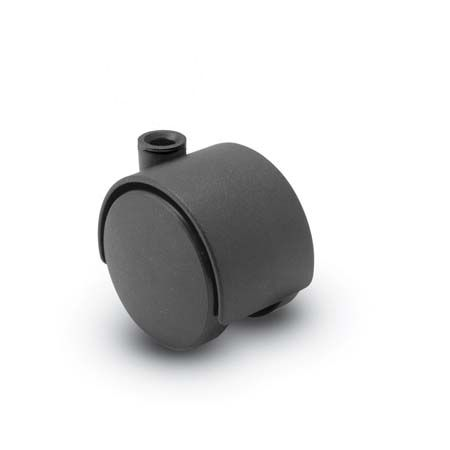 Twin Wheel Caster in Black with a Hood and Stemless
