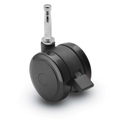 Caster; Twin; Swivel; 2in (50mm); Nylon; Grip Neck; 5/16x1-1/2; Black; Rivet Brng; 75#; Wheel Brake (69556)