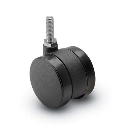 Black, swivel Twin Wheel Caster with a Threaded Stem