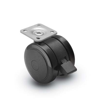 Caster; Twin; Swivel; 2in (50mm); Polyurethane; Top Plate; 1-1/2x1-1/2; hole spacing: 1x1; 3/16 bolt; Black; Rivet Brng; 75#; Pedal Lock; Wheel (69308)