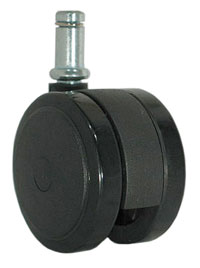 Caster; Twin; Swivel; 2-3/8 (60mm); Nylon; Grip Ring; 7/16x7/8; Black; Zinc Body Brng; 100# (69775)