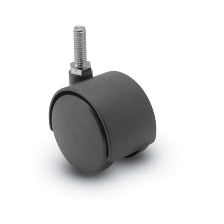 Swivel Twin-Wheel Caster with a Black finish, Threaded Stem connector and a Hood.
