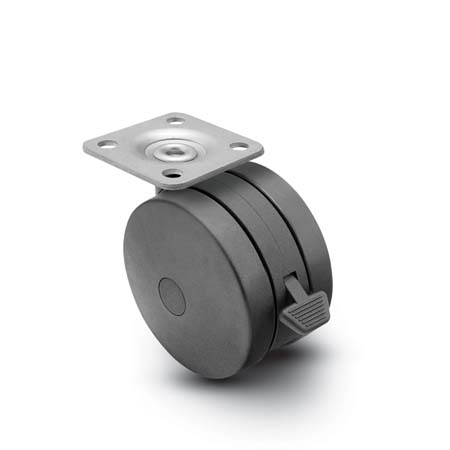 Swivel Twin-Wheel Caster with a Black finish and Top Plate connector and a Brake.