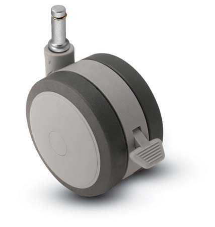 Swivel Twin-Wheel Caster with a Black/Grey finish and Grip Ring connector and a Brake.